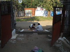 Making Rangoli on door step , Diwali celebration with family : Sarni, Madhya Pradesh, India (dushyant_fst) Tags: india lakshmi deep firework festivaloflight monika ganesh cracker diwali hinduism crackers deepawali rangoli ganeshji 429 superd sarni goddessofwealth lakshmiji subhdiwali dushyantgadewal shobharamgadewal manjulatagadewal