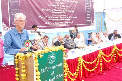 Prof. Obaid Siddiqui addresing the Alumni Meet of S.T.S High School