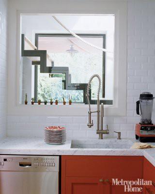 White + red kitchen: Farrow & Ball 'Blazer,' from Met Home