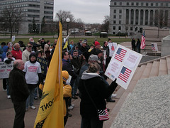 Protest by the Tea Parties Against Amnesty and Illegal Immigration (and counter protest) in St. Paul on November 14, 2009
