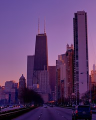 Chicago - Lake Shore Drive at Dusk (Express Monorail) Tags: travel sunset vacation sky usa chicago building colors geotagged psp evening illinois nikon highway downtown driving skyscrapers dusk sigma lakeshoredrive highrise tall d300 johnhancocktower 2470mmf28 expressmonorail paintshopprophotox2 joepenniston geo:lon=87624925 geo:lat=41905259 americaavailablelight