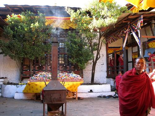 Kyichu Lakhang courtyard