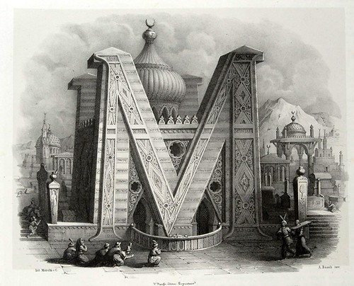 012-Letra M-Alfabeto pittorico- Antonio Basoli 1839-© Accademia di Belle Arti di Bologna