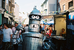 bender at the kemptown fate (lomokev) Tags: robot costume funny brighton kodak cartoon contax futurama bender fancydress cartooncharacter t2 contaxt2 kemptown ektar shinymetalass bitemyshinymetalass kodakektar100 roll:name=090615contaxtt2ektar file:name=090615contaxtt2ektar10 kemptownfate