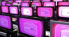 Get set for digital... (Ruth Flickr) Tags: pink shop digital advertising tv media screen rows blogged copy screens publication televisions img0551 serried
