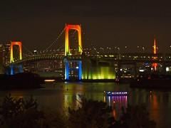 true rainbow (chika_sight) Tags: reflection tower reflecting tokyo houseboat tokyotower odaiba nightscene nightview tokyobay rainbowbridge nightimage
