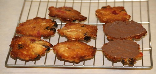 Adding chocolate to florentines
