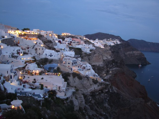Oia, Santorini - Our patio is the grey/blue one in the foreground