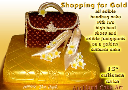 SHOPPING FOR GOLD SUITCASE HIGH HEELS PURSE 21st BIRTHDAY CAKE