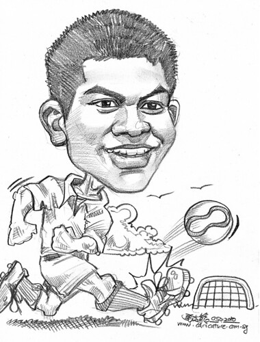 Caricature of a soccer player in  pencil