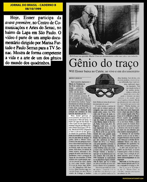 """""""Gênio do traço"""" - Jornal do Brasil - 08/10/1999"""