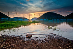 The Lake at sunset! (KjayK) Tags: sunset lake ripples vizag fishingnet