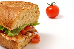 Bacon Sandwich (britishsandwichassociation) Tags: food white dinner tomato bread lunch leaf bacon cut wheat sandwich meat lettuce eat health snack meal half portion supper nutritious coarse