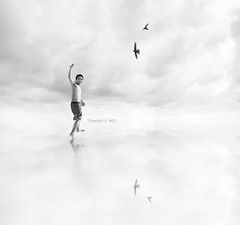 JOY (Tomasito.!) Tags: life boy portrait sky people white selfportrait man reflection guy art birds clouds photoshop self silver painting macintosh person nikon artist joy surreal happiness manipulation highkey 18105 tomasito 500x500 d90 hightones strobist nikond90 pinoykodakero nikon18105mmlens sprawlingclouds