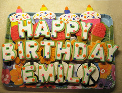Happy Birthday, Emily! (SusieHazCakes) Tags: birthday cookies cupcake sunflower happybirthday peacesign fondant icecreamcone susiehazcakes