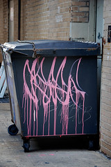 pink-throwie (damonabnormal) Tags: street city pink urban philadelphia dumpster graffiti nikon tag streetphotography july tags drip pa 09 alleyway graff monday taggers phl 2009 215 tagz throwie driptag d80 philadelphiastreetart philadelphiagraffiti philadelphiaurbanart