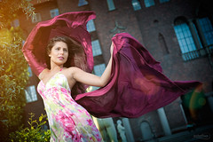 Wind beneath my wings (Estethia) Tags: woman color girl movement model nikon dress wind sweden fabric alexandra flare d3 stockholmcityhall