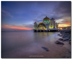 unforgettable sunset it was.. (acidsulfurik) Tags: longexposure sunset sea coast bluehour hdr melaka pulaumelaka masjidselatmelaka vertorama acidsulfurik masjidselat cokinnd8filter dighdynamicrange