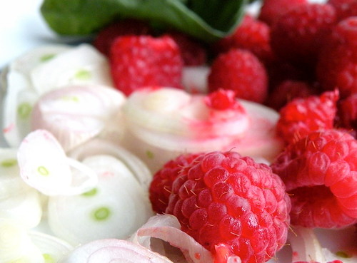 shallots and raspberries