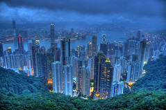 Hong Kong at dusk HDR (Jason's Travel Photography) Tags: china city hongkong thepeak hdr victoriapeak 3x photomatix anawesomeshot jasonstravel