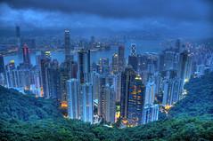Hong Kong at dusk HDR (Jason's Travel Photography) Tags: china city hongkong thepeak hdr victoriapeak 3x photomatix anawesomeshot jasonstravel