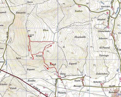 Mapa de la Ascensión al Eltxumendi (851 m.)