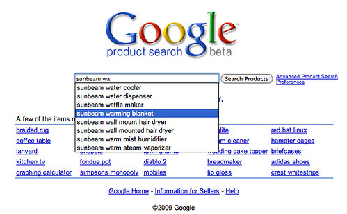 Search Suggestions on Google Product Search