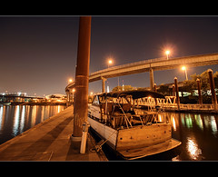Under The Stars - HDR (David Gn Photography) Tags: night oregon marina portland stars bridges pdx hdr eastbankesplanade photomatix willamettebridge sigma1020mmf35exdchsm canoneosrebelt1i