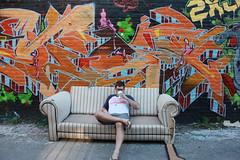 Jamo, being discrete. (jamiepaul) Tags: summer portrait selfportrait wickerpark streetart chicago art coffee graffiti glasses gangster paint ukrainianvillage tag couch xmen flipflops shorts timer jinx sip