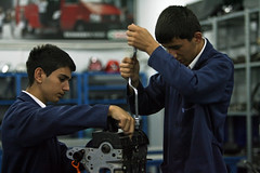 Students work on an engine at Sisli Vocational High School (World Bank Photo Collection) Tags: school students youth train training turkey education europe employment jobs young engine skills tools job worldbank vocation