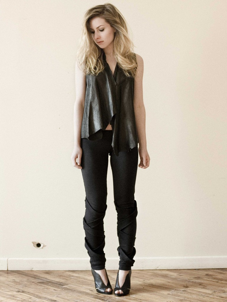 BlackMarketBaby draped leather vest at Etsy