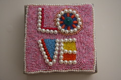 new wall art 10x10 (Pepa Amenabar) Tags: wood pink art love wall beads handmade pearls newcollection pepaamenabar