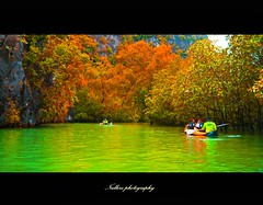 Colorful Side (Nullerz) Tags: world travel trees sea people seascape color colour tree nature colors photoshop relax landscape thailand boats boat colorful photographer group super romance rafting fantasy enjoy thai frame imagine romantic imagination raft phuket thailanda nullerz