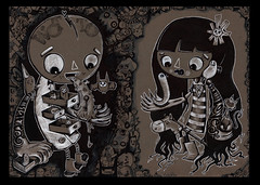 Me and Mine (WOTTO*) Tags: light blackandwhite horse selfportrait cute art love illustration ink cat dark artist darkness skateboarding artistic drawing happiness characters doodles drawers scratchy matchbox lightness lowbrow detailed dunce loveandhate manandwife meandmine girlandboy wotto selfrefection