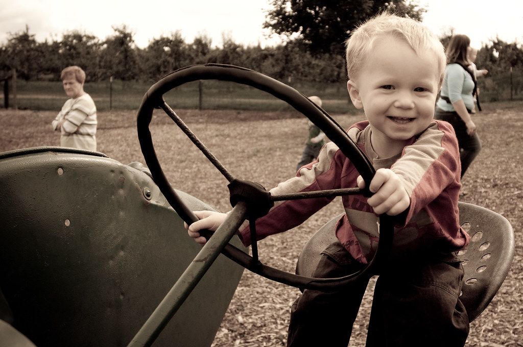 Cole Driving the Tractor