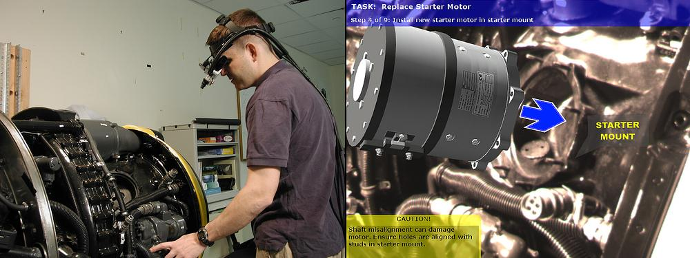 (Left) A mechanic wearing a tracked head-worn display performs a maintenance task on a Rolls Royce DART 510 Engine. (Right) A view through the head-worn display depicts information provided using augmented reality to assist the mechanic.