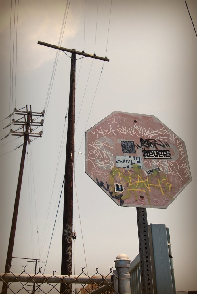 Tagged up Stop Sign in LA, California 2009.