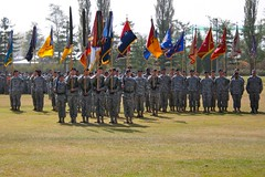 Guidons 2 (Mike.P.McDonald) Tags: autumn people mountains color fall america canon landscape army eos rebel xt october cobra tank military scout korea company american armor command cavalry reenlistment cobras firsttank 172ar