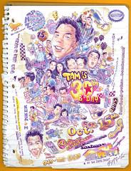 Tam Dang's 30th Birthday Invite Art (2005) (Mel Marcelo) Tags: friends portrait face illustration notebook artwork grafx lakeforest photoshopart wacomtablet melmarcelo tamdang kathychiang meltendo mpyregraphics melitomarcelo