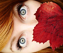 autumn. (Ingrid Photography) Tags: blue autumn red portrait canada fall leave ingrid me colors look self myself eyes colorful olympus explore frontpage seflportrait ingus ingridregos ingridregs fe360 ingrid0411