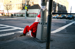 (sea kay) Tags: santa street morning ny film brooklyn drunk 35mm sitting scan gothamist notchristmas