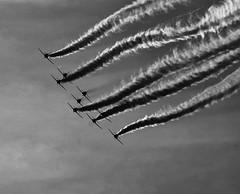 Red Arrows - Linton on Ouse (Chris McLoughlin) Tags: york uk england blackwhite day aircraft sony yorkshire tamron redarrows northyorkshire raf a300 lintononouse tamron70300mm 70mm300mm sonya300 tamron70mm300mm sonyalpha300 alpha300 chrismcloughlin