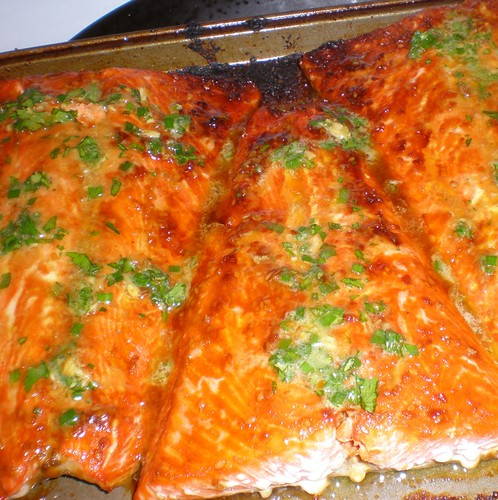 broiled salmon with ginger/cilantro/scallion butter