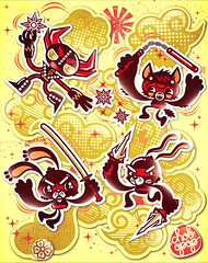 ninjas (Chobopop) Tags: rabbit bunny illustration clouds cat robot ninja knife sword vector shuriken nunchaku chobopop