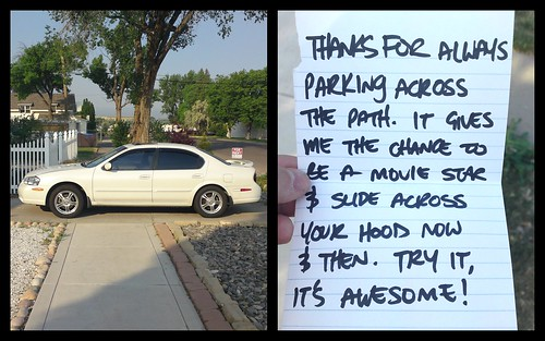 THANKS FOR ALWAYS PARKING ACROSS THE PATH. IT GIVES ME THE CHANCE TO BE A MOVIE STAR & SLIDE ACROSS YOUR HOOD NOW & THEN. TRY IT, IT'S AWESOME!