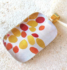 Jelly Bean Necklace (BeansThings) Tags: red orange nature glass yellow necklace mini jewelry earthy accessories dots rectangle jellybeans pendant upcycled ribbonnecklace homefrontteam goldbail beansthings goldturnclasp creamribbon