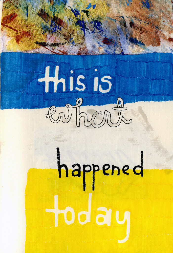 This is what happened today, mixed media on paper, 2009 by Sarah Atlee. Click image to view source.