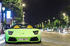(GstarAnto) Tags: paris green cars night canon 50mm champs elyses 18 mate lamborghini luxe spotting rar 40d