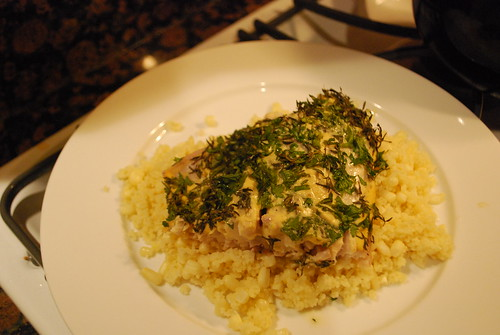 herb-encrusted snapper and couscous