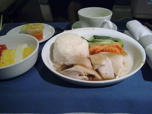 Hainanese chicken and rice with chili sauce and Taiwanese sauteed cabbage